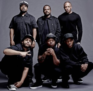 NWA, real and fictional versions, from the upcoming biopic, 'Straight Outta Compton'