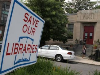 Save Our Libraries sign, Boston