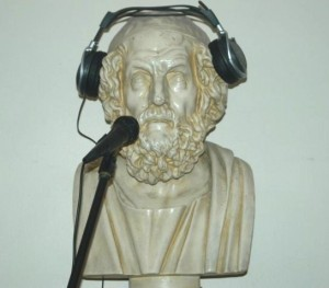 socrates with headphones and mic